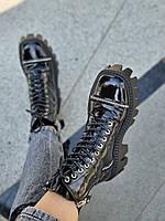 Стильные ботинки, натуральная кожа/лак. Байка или мех на выбор Код кSabina-01 цвет черный, фото 1