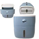 Тримач для туалетного паперу та серветок Ecoco з полкою голубой Органайзер у ванну кімнату, фото 3