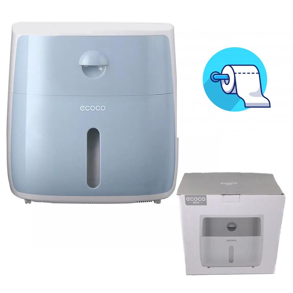 Тримач для туалетного паперу та серветок Ecoco з полкою голубой Органайзер у ванну кімнату