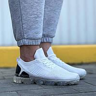 Мужские кроссовки молодежные (белые) 0274 крутая обувь текстильная