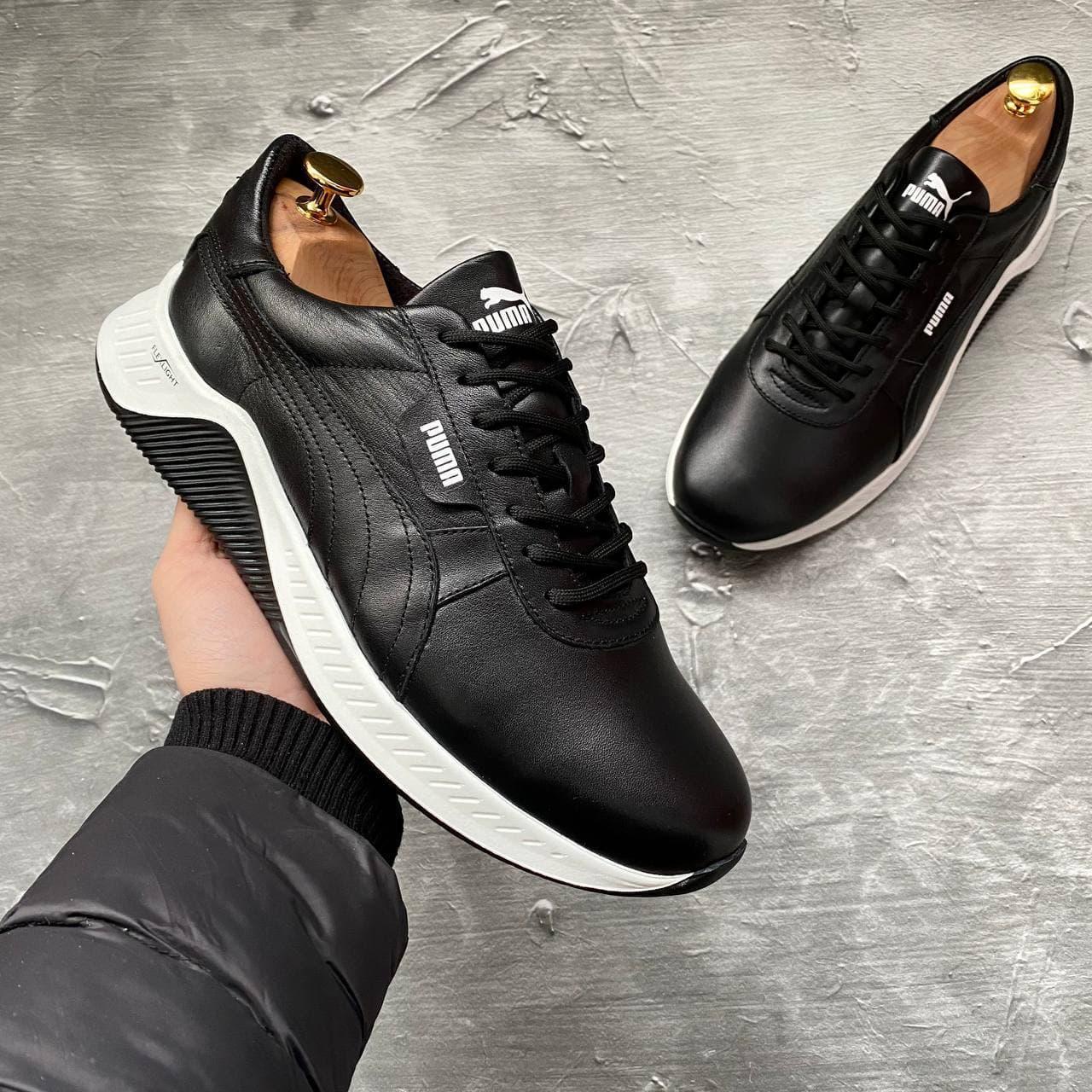 Кроссовки Puma кожаные Черные кеды Пума из натуральной кожи с кожаной подкладкой
