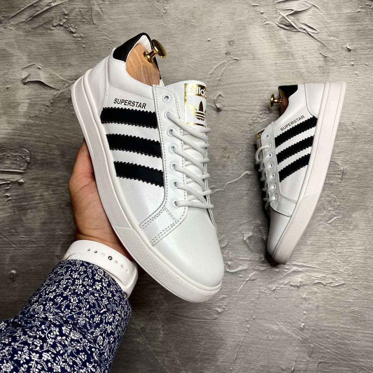 Кеды Adidas Белые из натуральной кожи с подкладкой из кожи