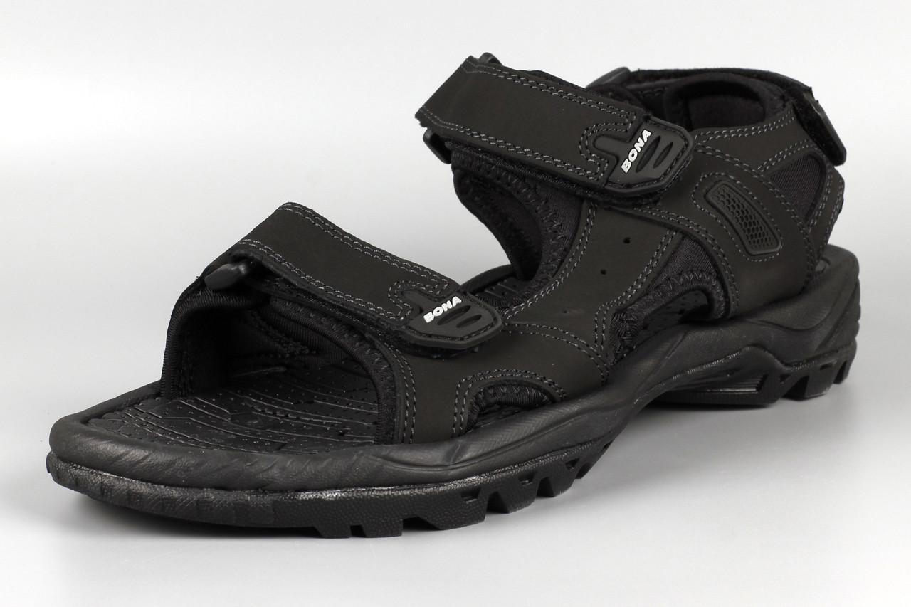 Сандалии босоножки мужские кожаные на липучке черные великаны Bona 775D-4 Бона Размеры 47