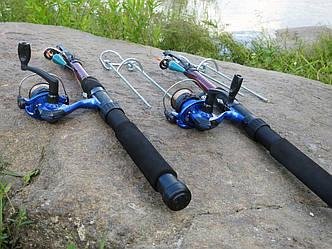 Удочки дальнего заброса 3м Рыболовный набор 2шт спиннинги в сборе с катушкой + подставки в подарок