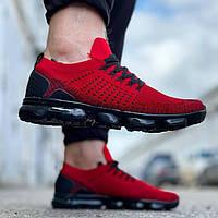 Мужские кроссовки молодежные (красные с черным) 0275 крутая качественная обувь текстильная