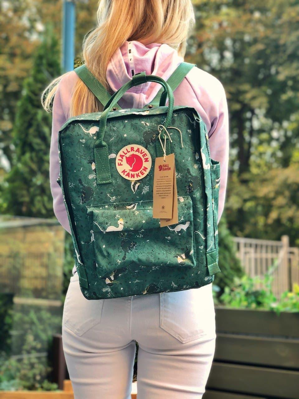 Женский спортивный рюкзак Kanken (зеленый) с принтом 109