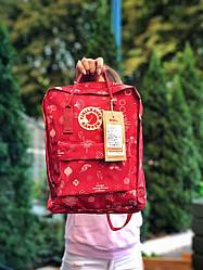 Женский спортивный рюкзак Kanken (красный) с принтом 112