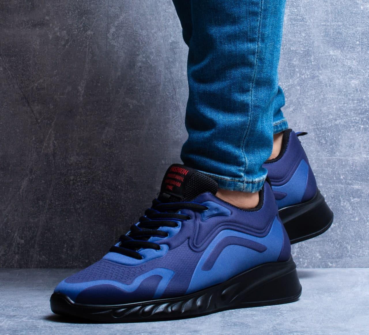 Мужские кроссовки Fashion (сине-черные) легкие текстильные кроссы 0285
