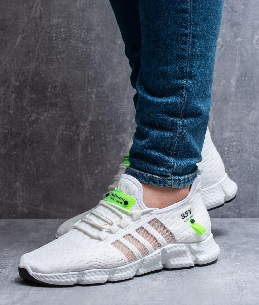 Чоловічі кросівки Fashion (білі) легкі текстильні кроси 0270
