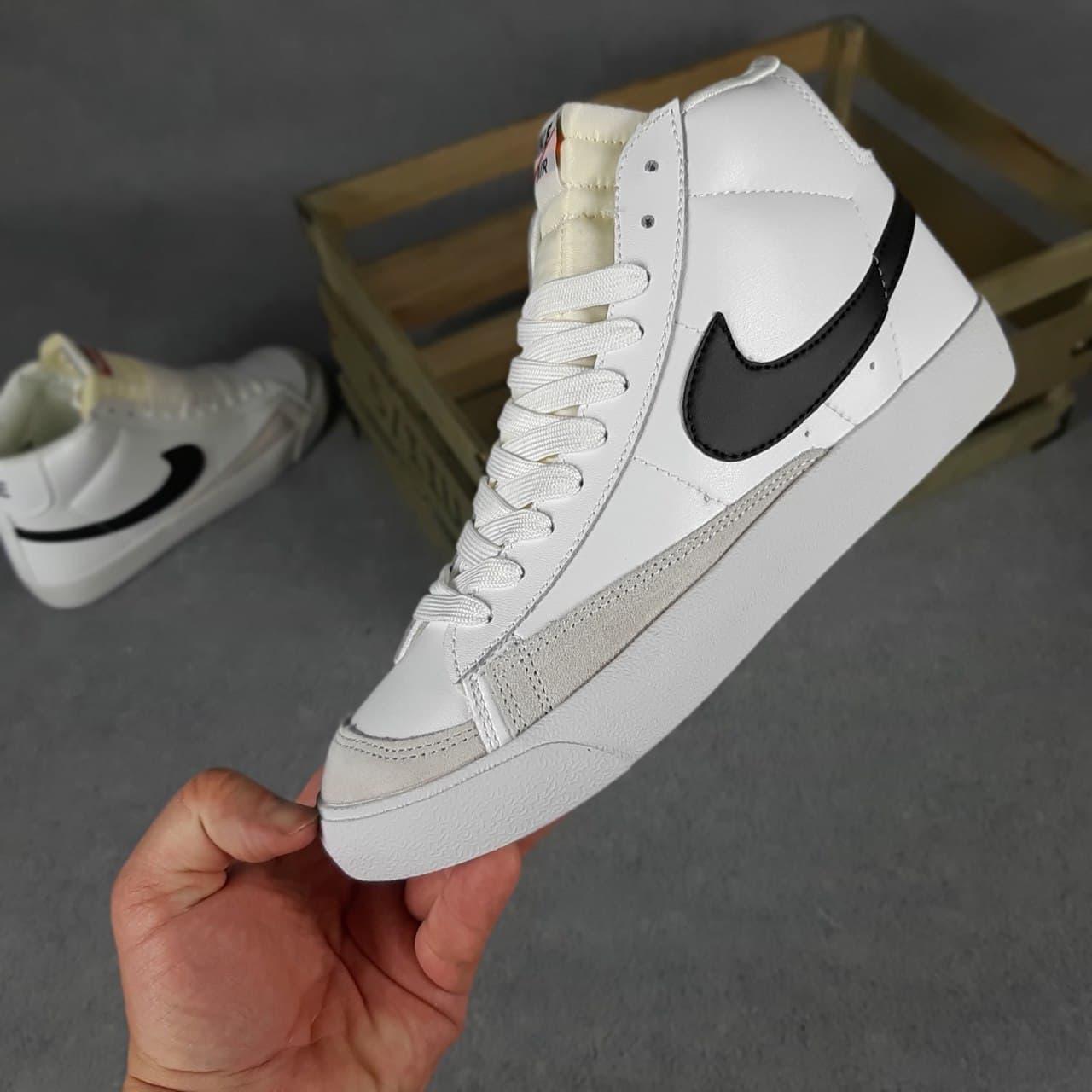 Мужские кроссовки Nike Blazer Mid (Белые с чёрным) О10481