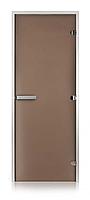 Стеклянная дверь для хамама GREUS матовая бронза 80/200 алюминий
