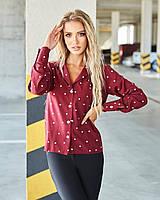 Женская классическая рубашка в горошек марсала, фото 1