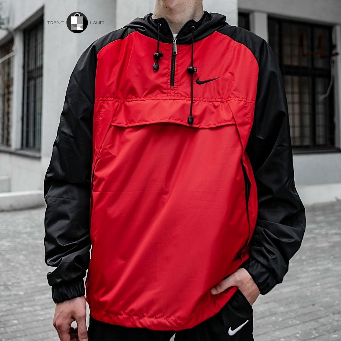 Размеры S-XL | Мужская куртка ветровка анорак Nike 'House' Red Красный