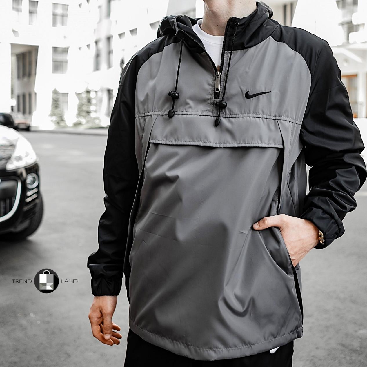 Розміри S-XL   Чоловіча куртка вітровка анорак Nike 'House' Grey Серий