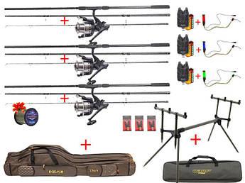Готовый Карповый набор Flagman Magmun Black Carp на три удилища с катушками в комплекте + ПОДАРОК