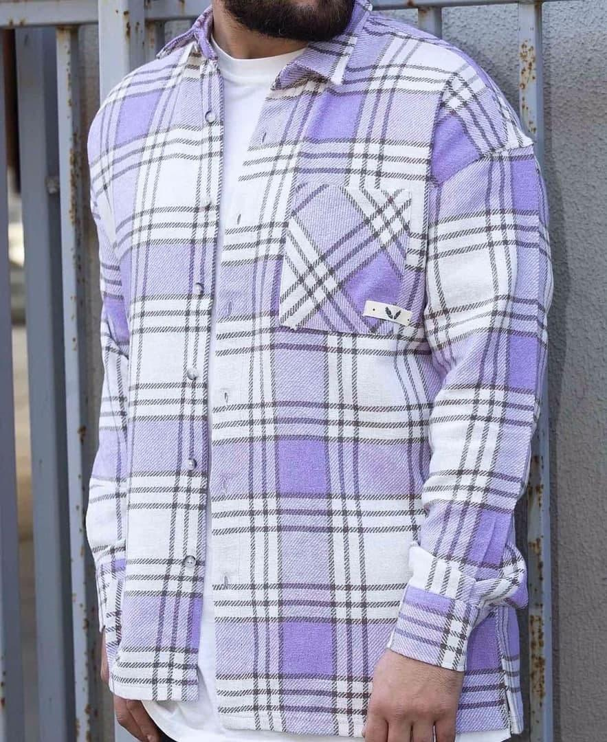 Чоловіча сорочка байкова картата оверсайз фіолетова. Чоловіча тепла байкова сорочка картата.