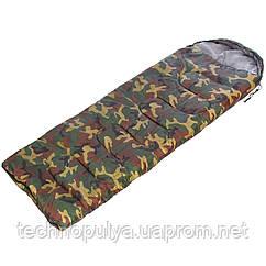 Спальний мішок-ковдра з капюшоном камуфляж SY-4062 (PL,бавовна, 500г на м2,р-р 168+32х70см, t+10 до -10)