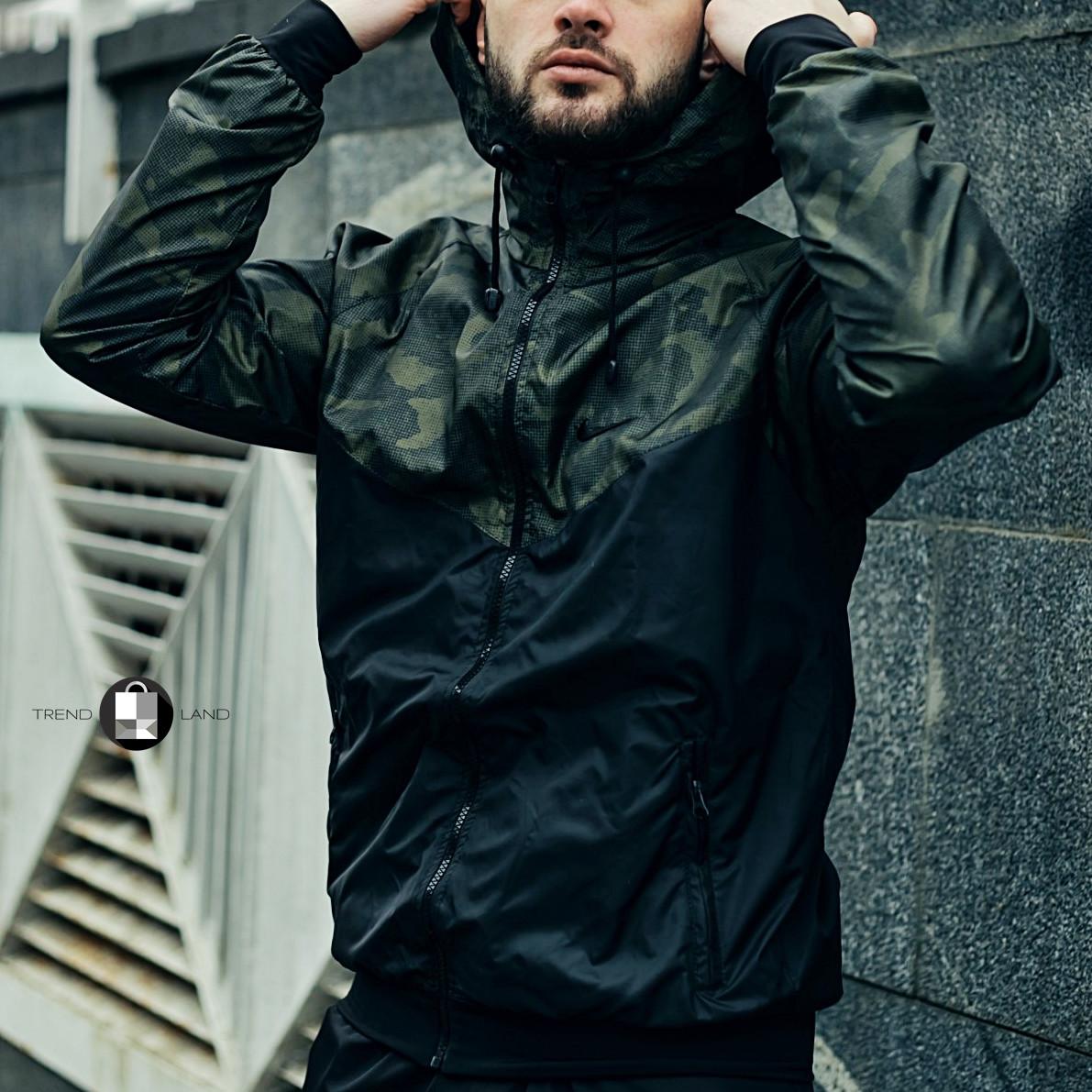 Розміри S-2XL | Чоловіча куртка/вітровка в стилі Nike Windrunner Jacket Khaki Сamouflage