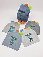 Детские польские демисезонные вязаные шапки оптом для мальчиков, р.46-48, ANPA, фото 1