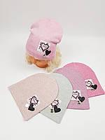 Дитячі польські демісезонні в'язані шапки оптом для дівчат, р.48-50, фото 1