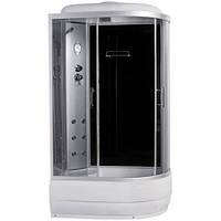 8890D/45-L, гидробокс Sansa с панелью управления, 120 х 80 см, рама сатин, стекло серое, заднее стекло черное