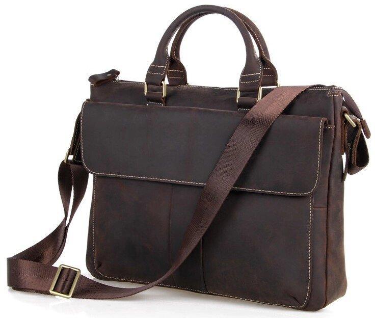 Шкіряна чоловіча сумка європейської якості Vintage 14161 Коричнева