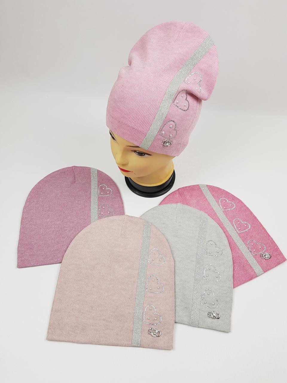 Детские польские демисезонные вязаные шапки оптом для девочек, р.52-54, ANPA