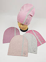 Детские польские демисезонные вязаные шапки оптом для девочек, р.52-54, ANPA, фото 1