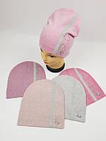 Дитячі польські демісезонні в'язані шапки оптом для дівчат р.52-54, фото 1