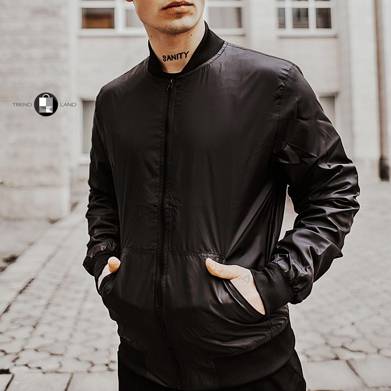 Размеры S-2XL   Мужская куртка бомбер Flash Black Черная