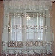 """Тюль для кухні короткі готові 3 м фатин вишивка Пудра """"Мія"""", фото 1"""