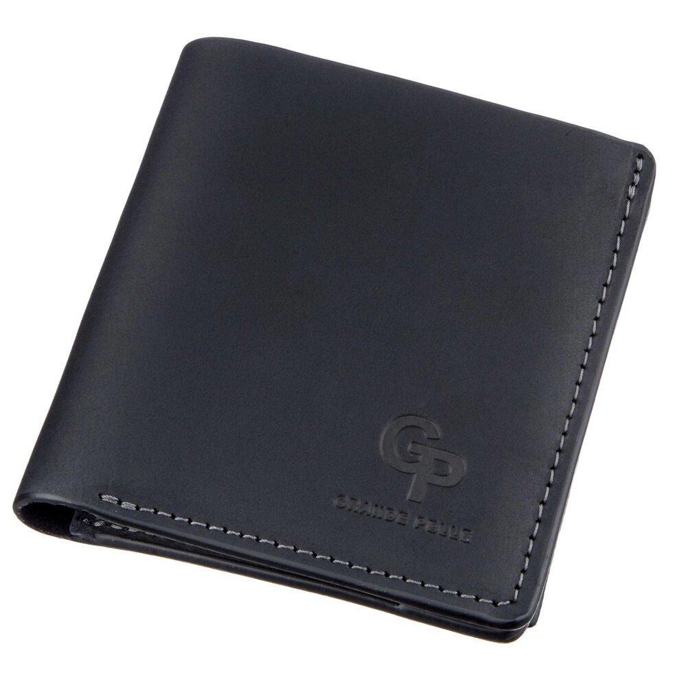 Оригинальное портмоне унисекс с накладной монетницей GRANDE PELLE 11222 Черное