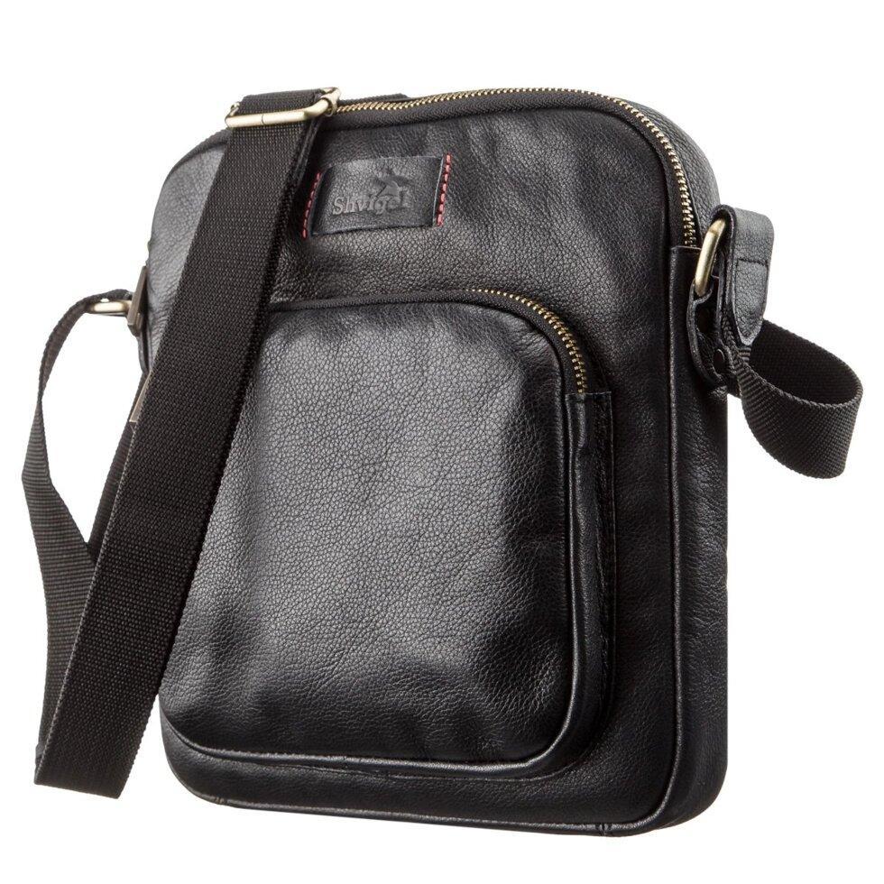 Чоловіча шкіряна сумка SHVIGEL 19111 Чорна