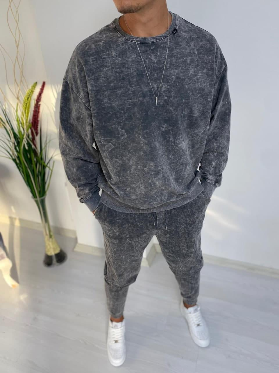 Чоловічий спортивний костюм oversize сірий модний оверсайз вільний весна осінь
