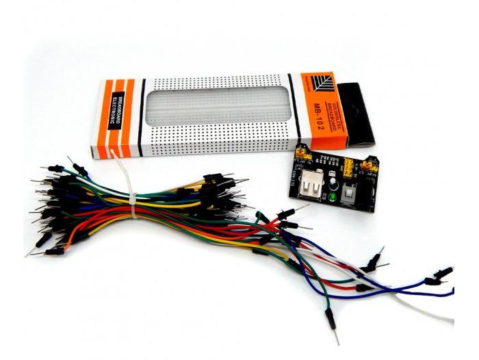 Макетна плата 830 + Комплект перемичок 65 шт + Модуль живлення MB102 для Arduino