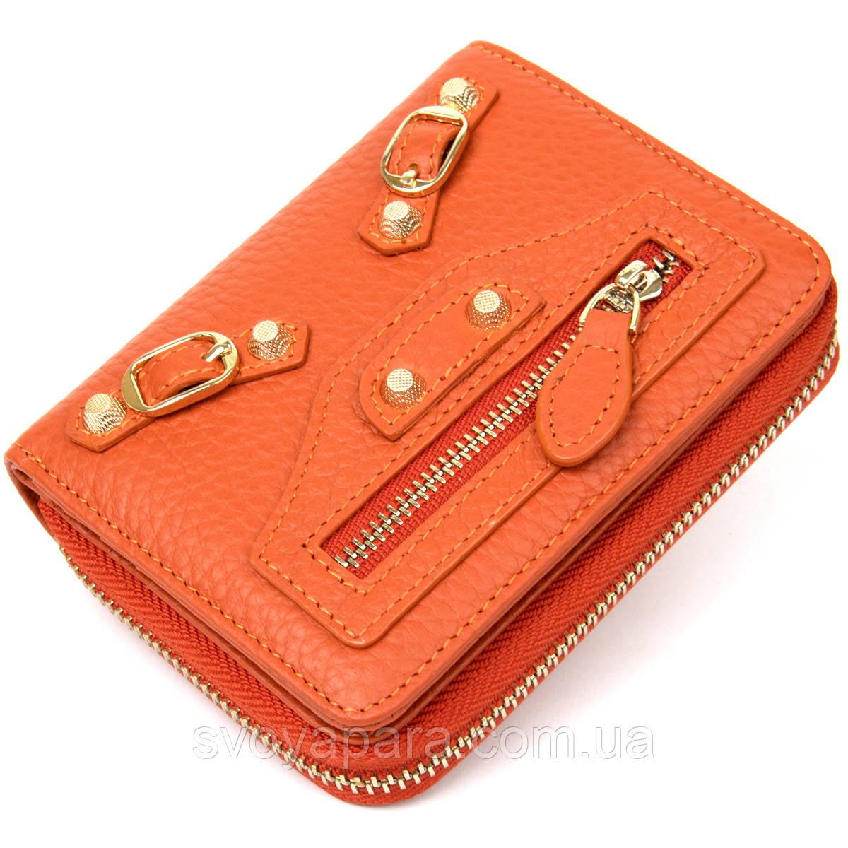 Шкіряний жіночий гаманець Guxilai 19399 Помаранчевий