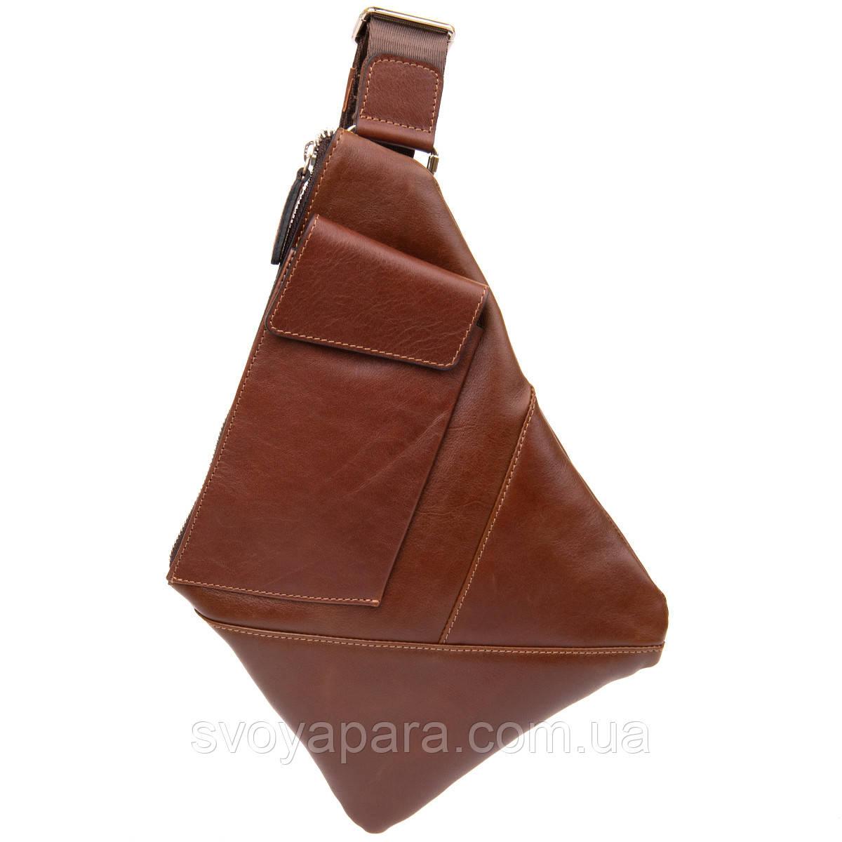 Стильна шкіряна чоловіча сумка через плече GRANDE PELLE 11358 Коричневий