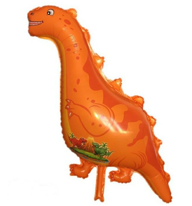 Шар из пленки большая фигура Динозавр оранжевый 95х50см Китай