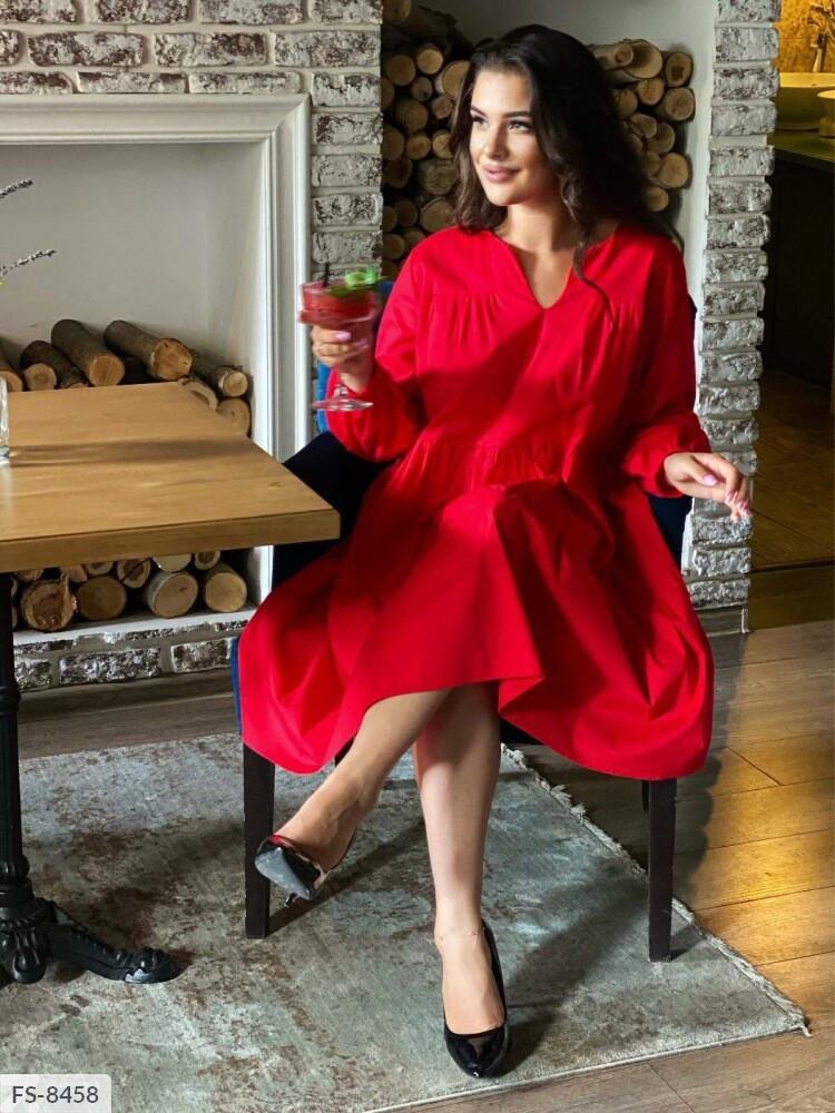 Жіноче коттоновое однотонне плаття (Батал)