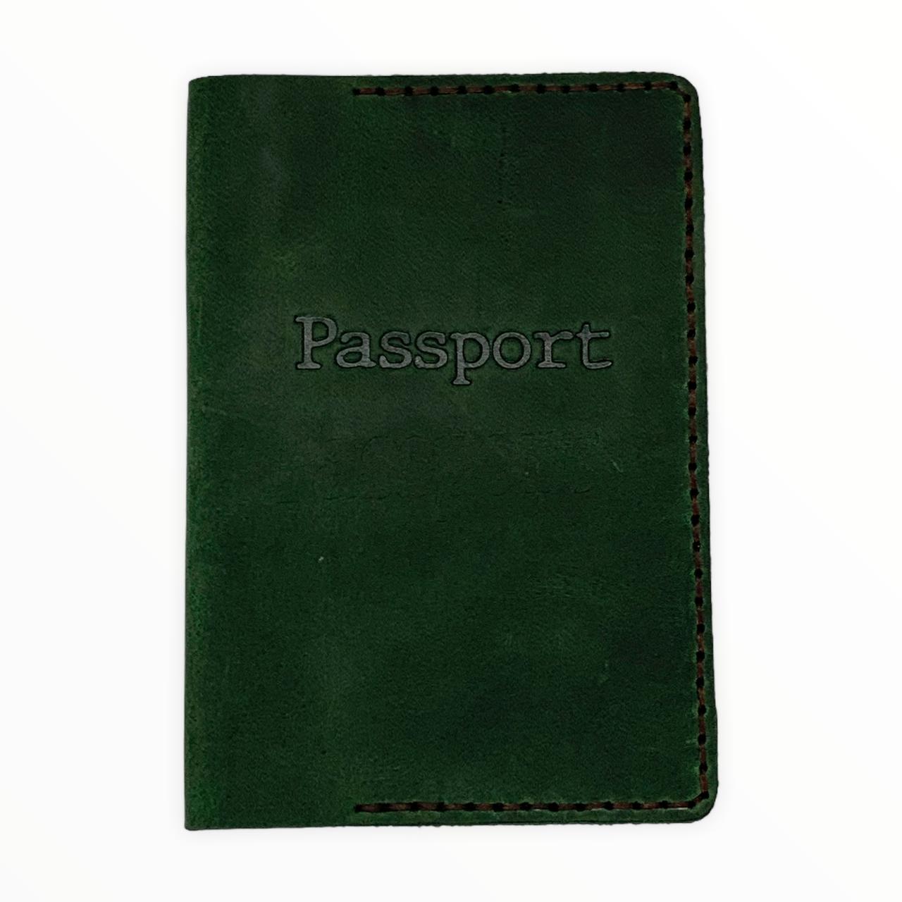 Шкіряна обкладинка на паспорт  зелена
