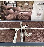Комплект Постельного Белье Сатин Люкс C Кружевом Двуспальное Евро 200*220 см Турция Clasy Giza V3, фото 2