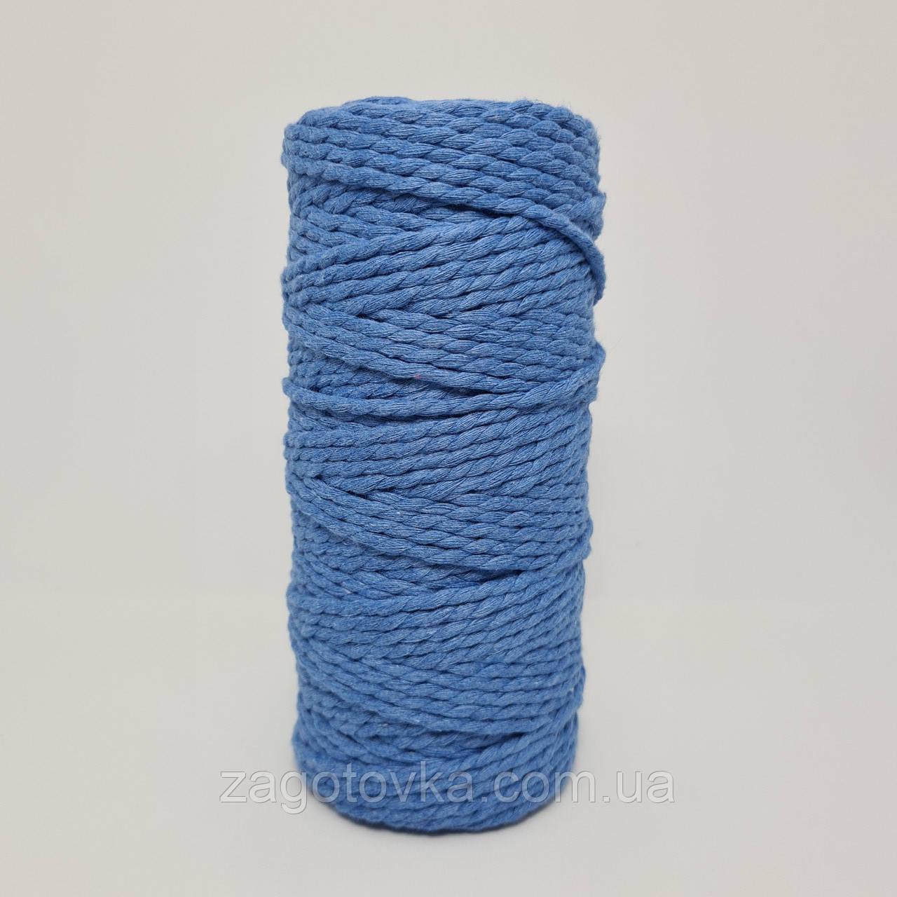 Еко шнур бавовняний крученный 4мм №43 Світло-синій