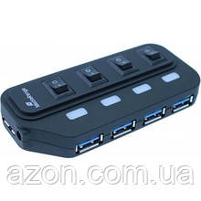 Концентратор Mediarange USB 3.0 hub 1:4, БП 5 V, black (MRCS505)