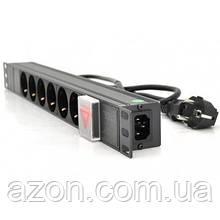 """Силовий блок Ritar 19"""" 6 розеток, кабель 1.8 m алюм. корпус з вимикачем (1U-M6-K-C13)"""