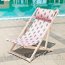 Шезлонг складной для пляжа и бассейна Кактусы