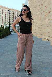 Брюки женские палаццо двухнитка стрейчевые на осень темно бежевого цвета / Широкие брюки с высокой посадкой