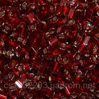 Бісер №10 (5г) рубка прозорий блискучий, червоний темний