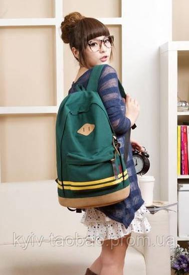 Модный городской рюкзак с пятачком зеленый