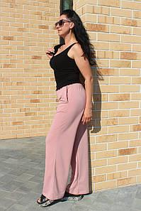 Брюки женские палаццо двухнитка стрейчевые на осень цвета пудра/ Широкие брюки с высокой посадкой