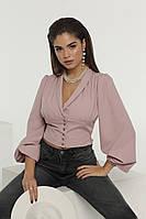 Женская элегантная красивая приталенная блузка с пышными длинными -рукавами (р.42-46) . Арт-1700/19, фото 1